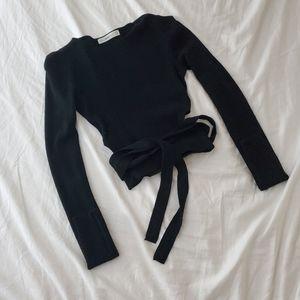 Zara cropped sweater tie waist wrap